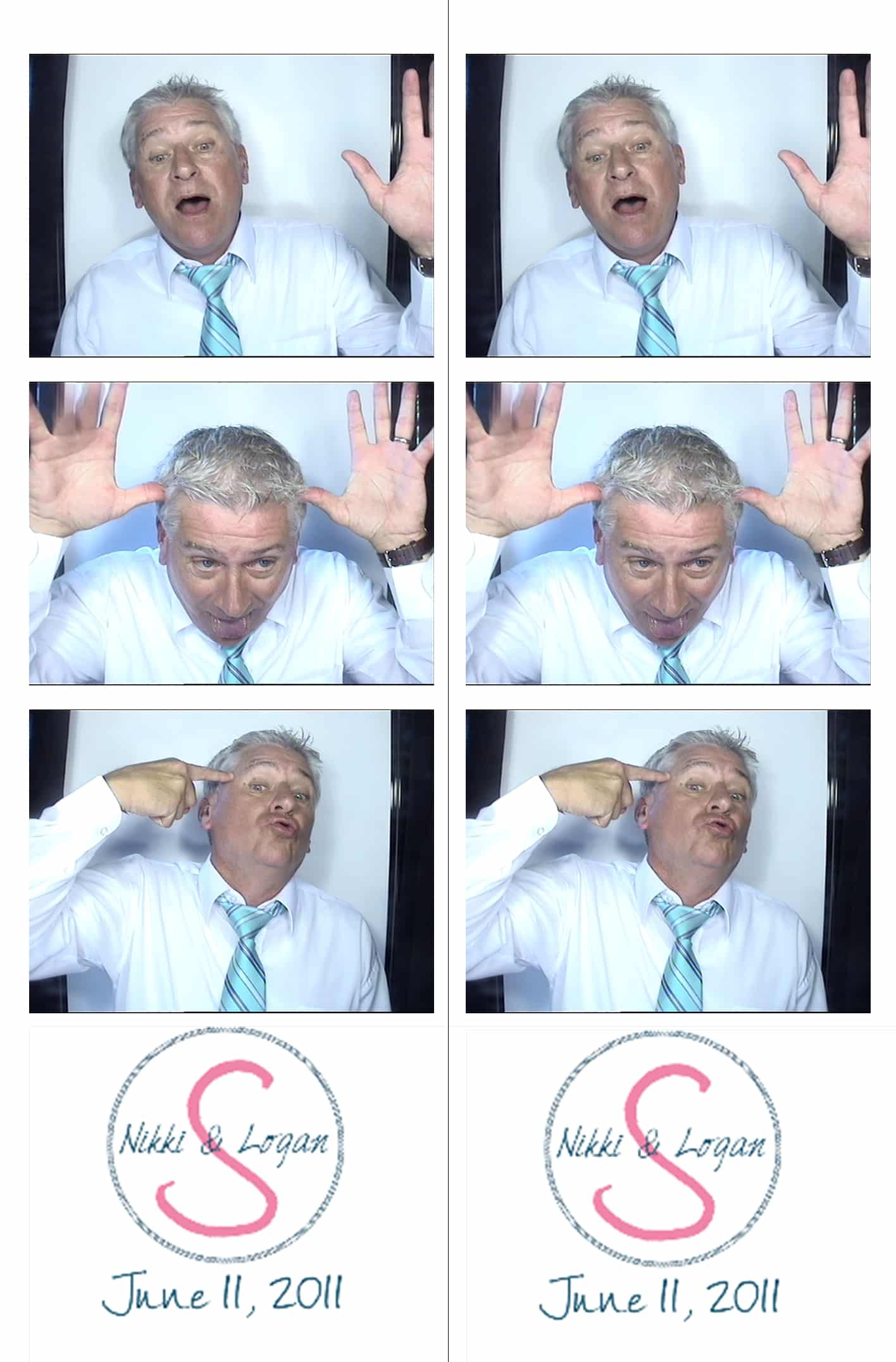 photo strip showing man making silly faces