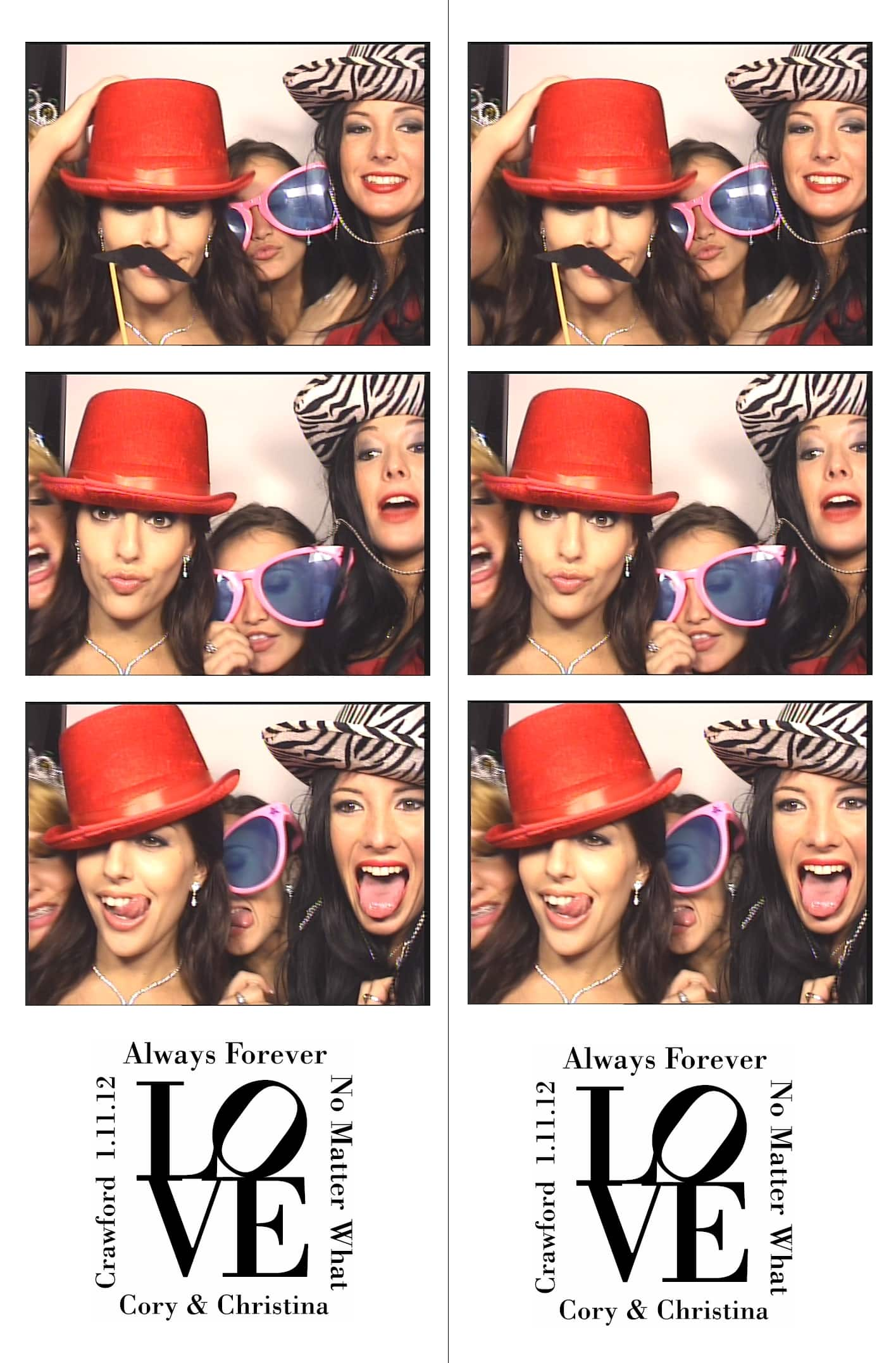 ladies in photo booth with silly props