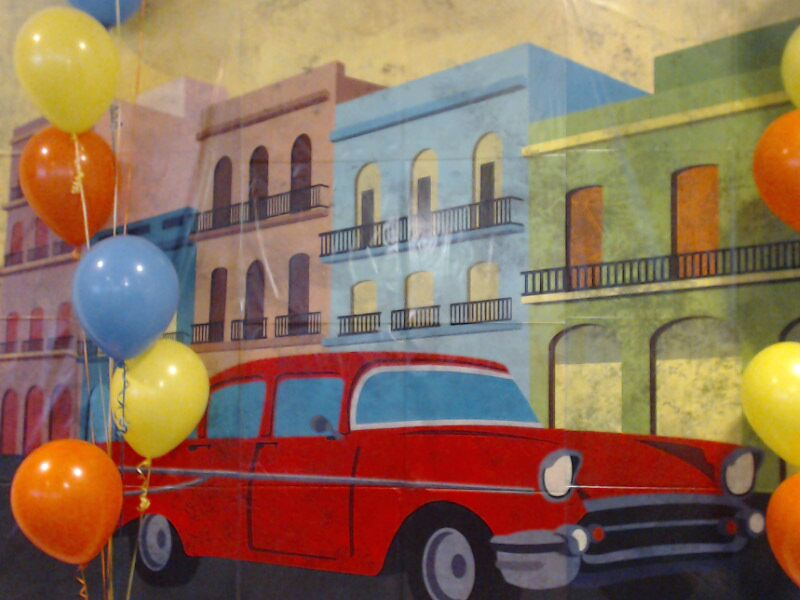 retro car photo booth backdrop