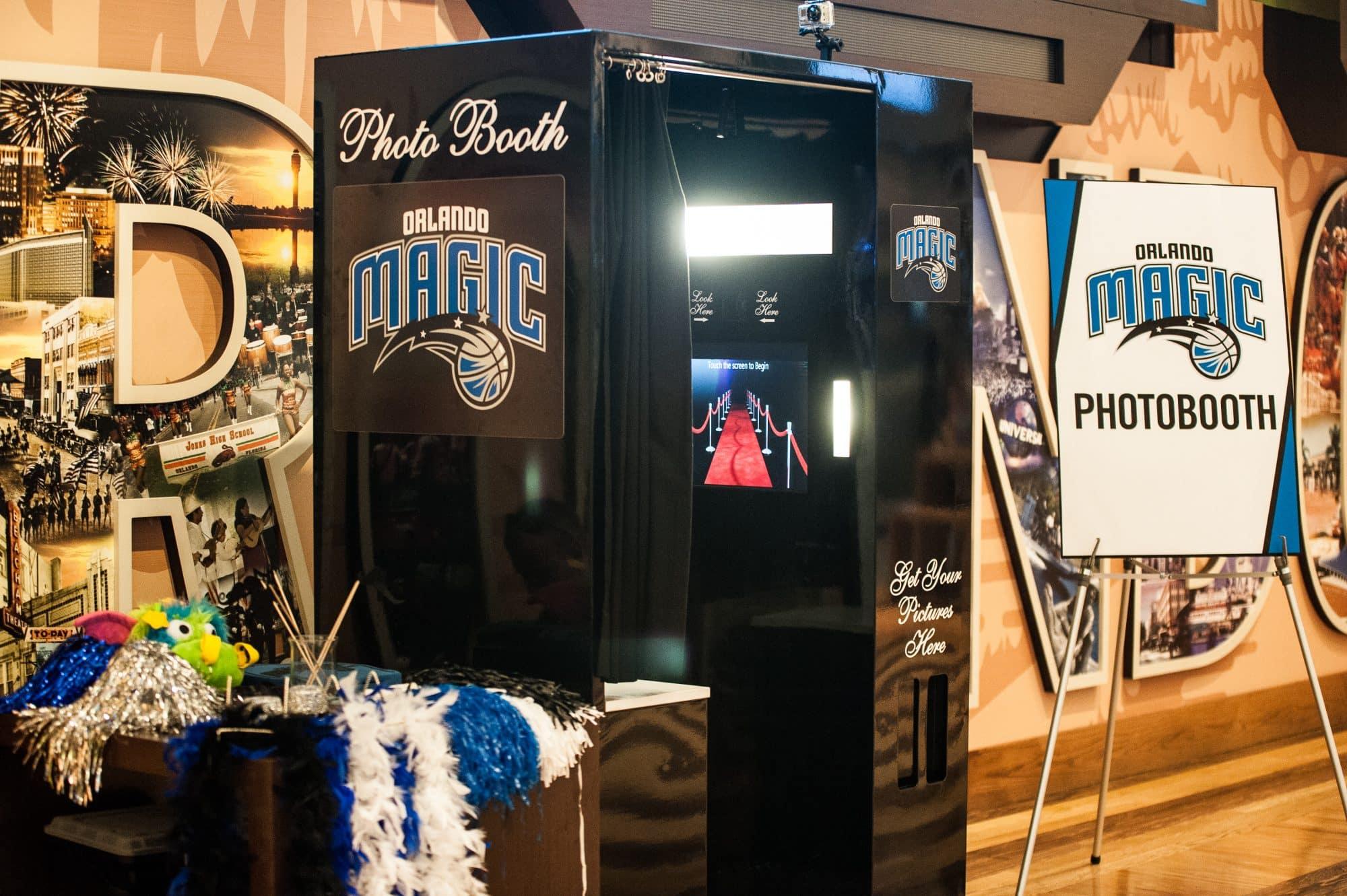 photo booth with Orlando Magic logo