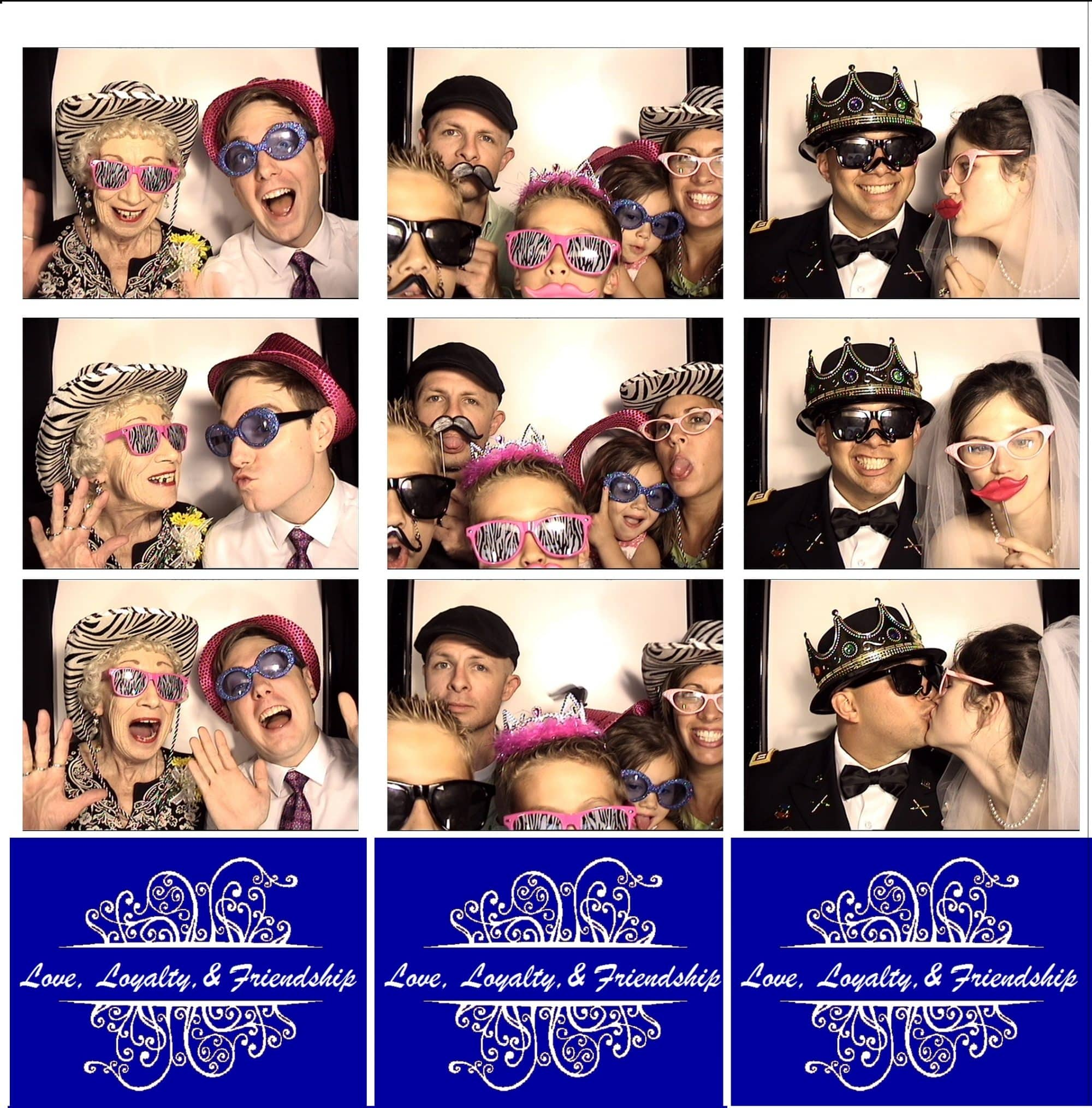 photo booth strips with 3 photos and a custom wedding logo at the bottom