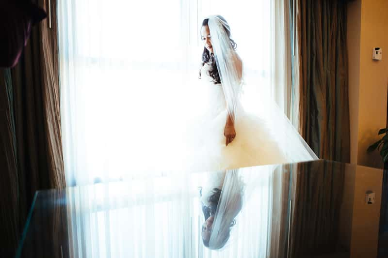 Solo picture of the Bride before the ceremony at the Orlando Disney Swan and Dolphin Resort