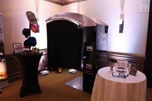 Open air photo booth with black background setup