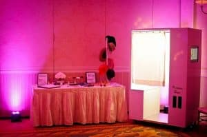 Grand Floridian Disney Wedding : Classic White Photo Booth + Hot Pink Uplighting