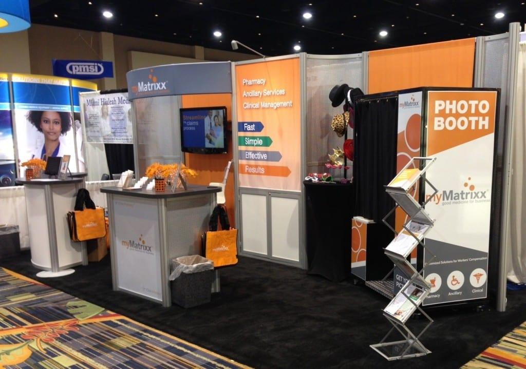 trade show display in eye catching orange