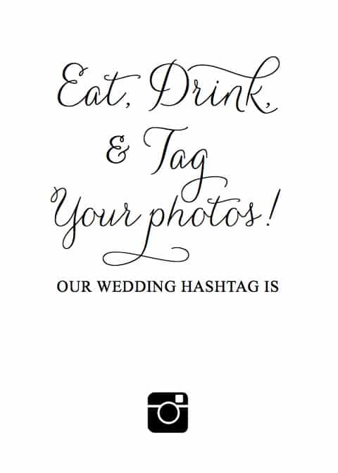 eat drink and tag your photos printable sign