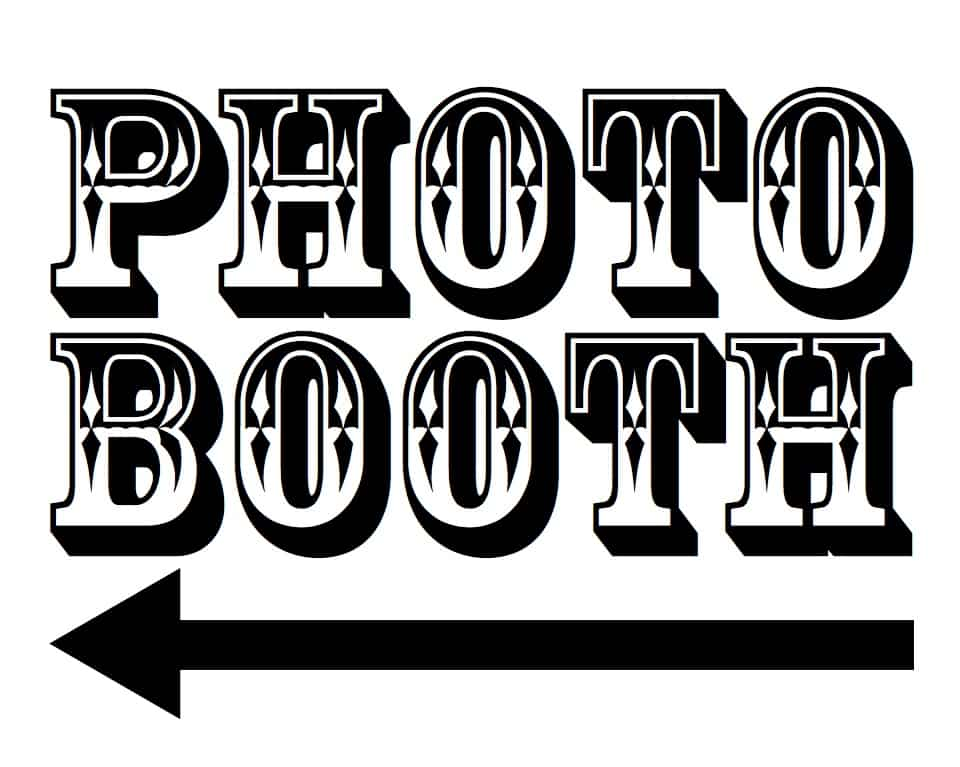 photo booth printable with left arrow