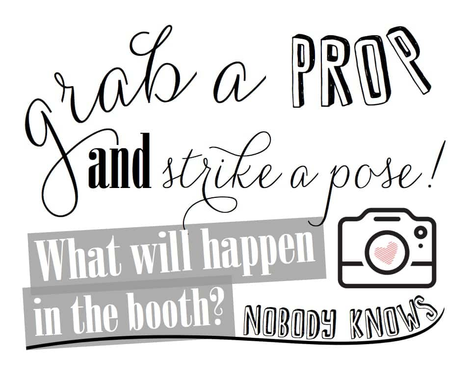 grab a prop and strike a pose photo booth printable sign