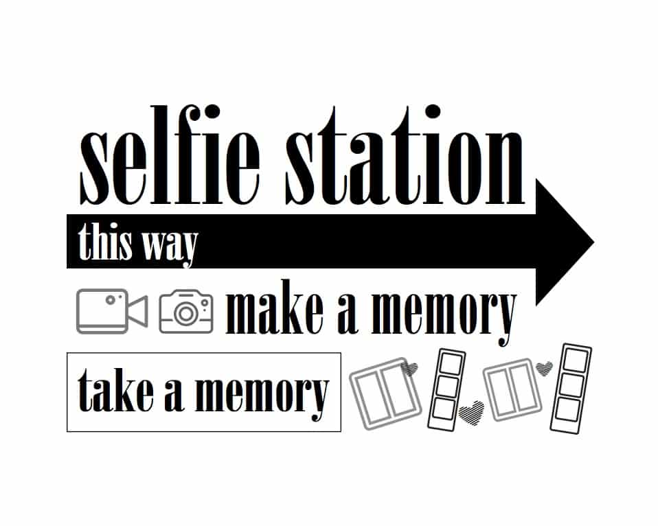 selfie station photo booth printable sign