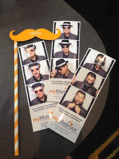 photo strips with custom logo mustache prop