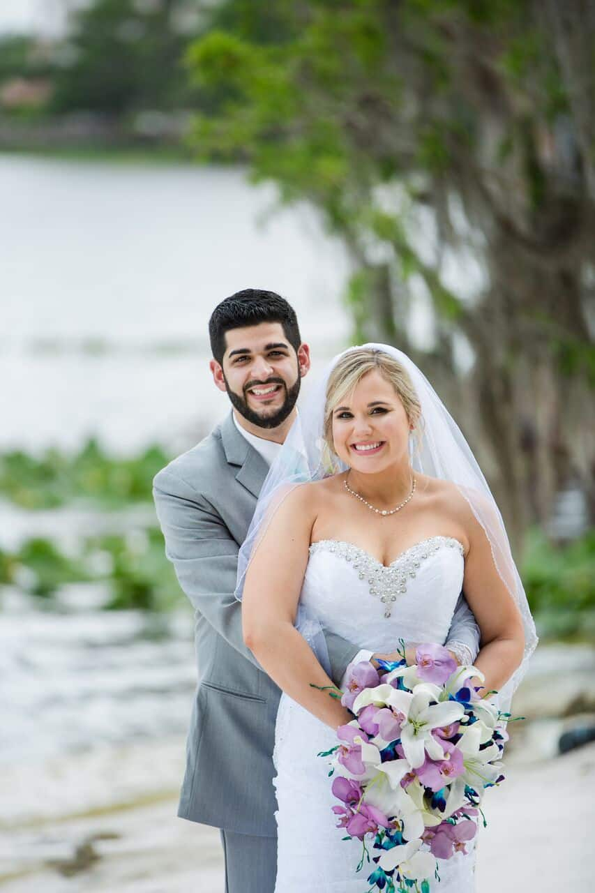 Paradise Cove wedding with black printz booth bride and groom