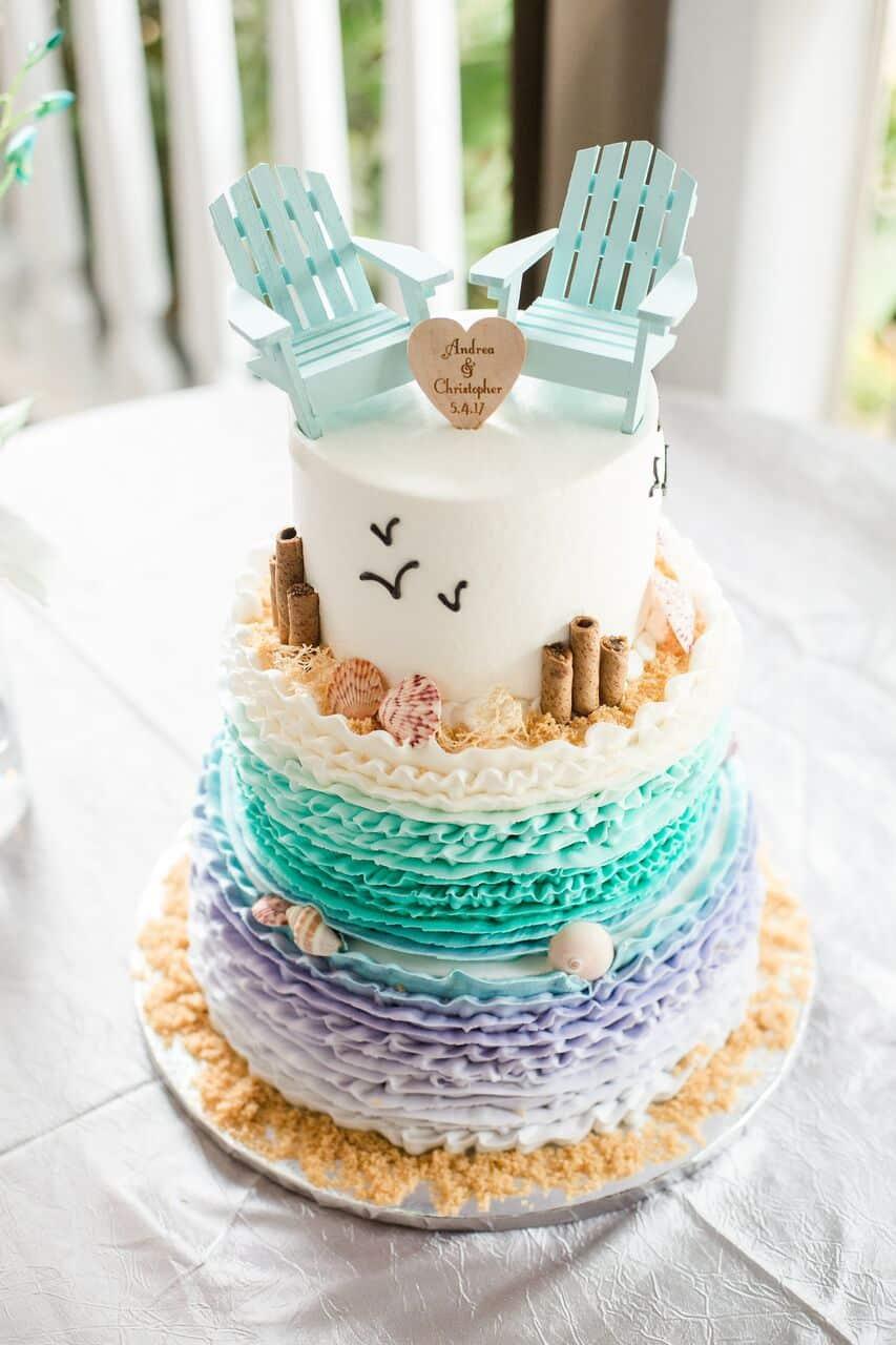 Paradise Cove wedding with black printz booth wedding cake