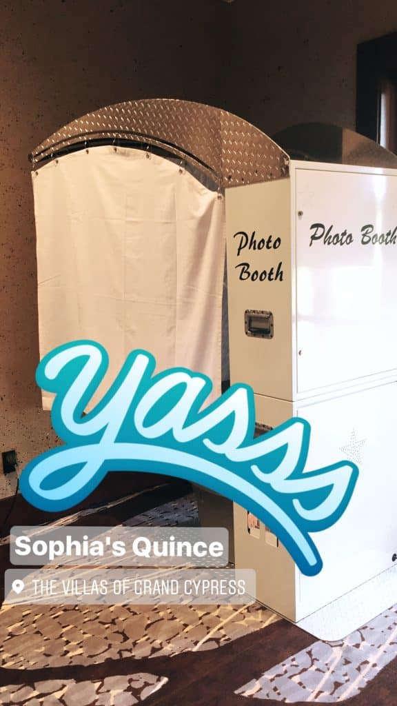 white photo booth rental at the villas of grand cypress in orlando florida