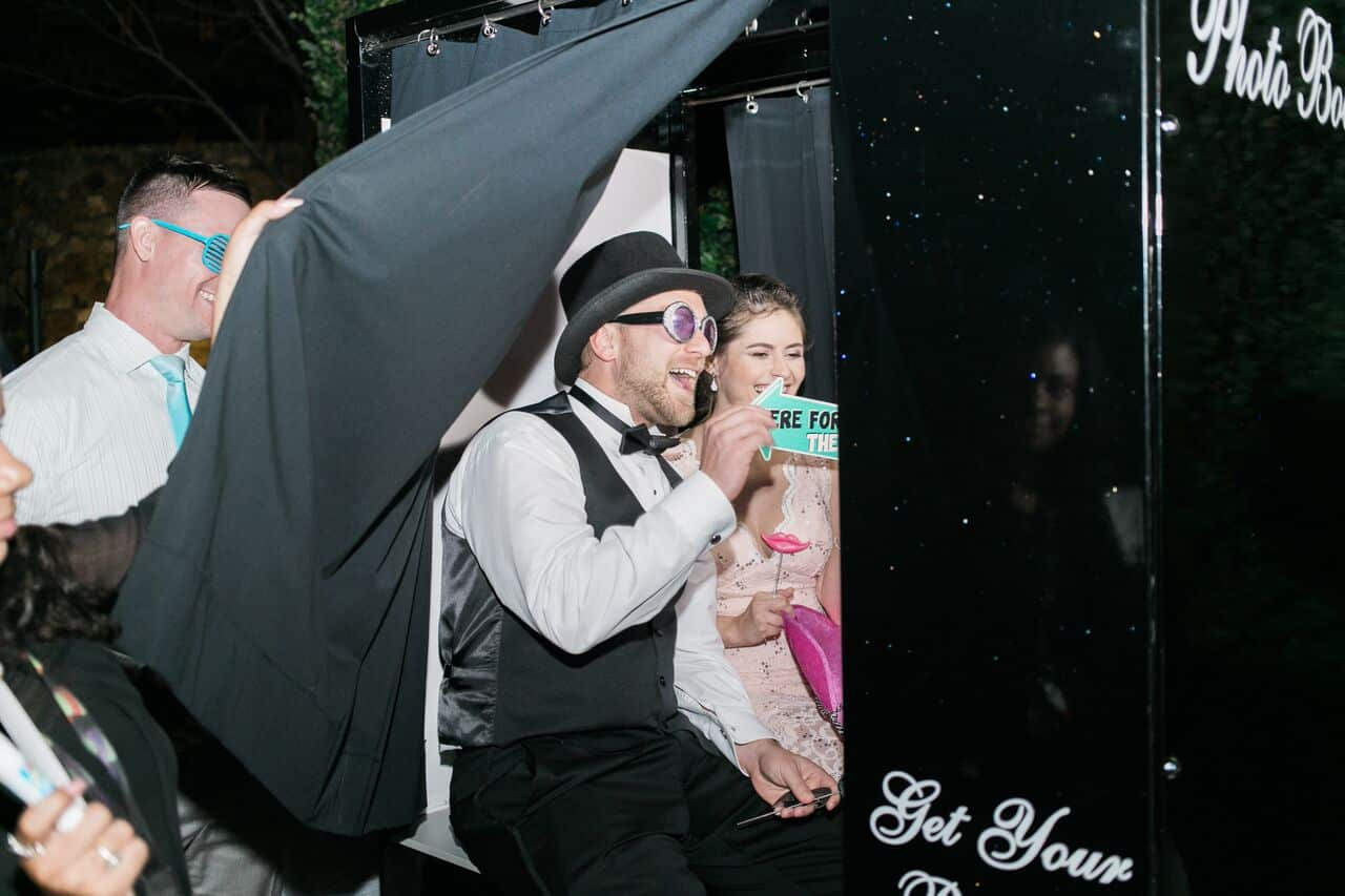 classic black photo booth at Bella Collina wedding