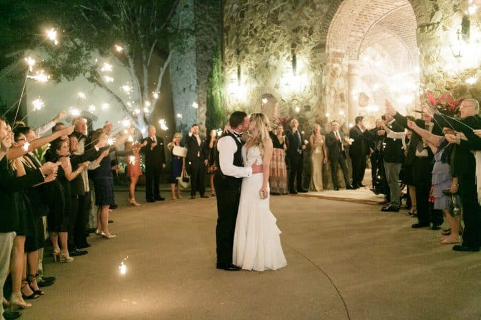 classic black photo booth at Bella Collina wedding grand sparkler exit