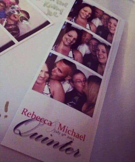 classic black photo booth at The White Room wedding photo strip
