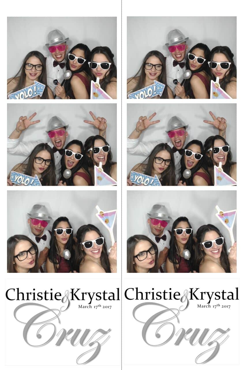 photo strip of group picture with props in white printz photo booth at wedding