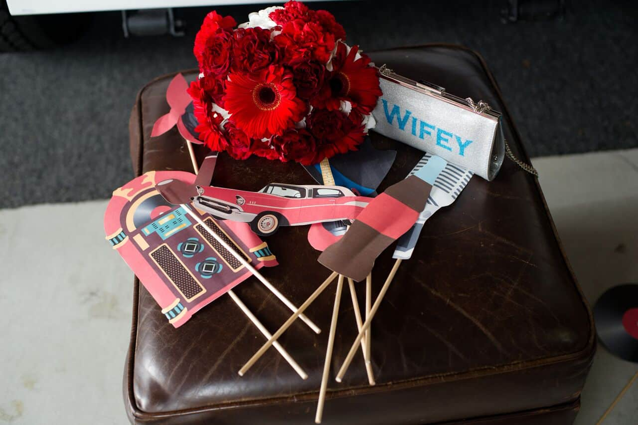 props used in new classic wooden photo booth from Photo Booth Rocks at wedding