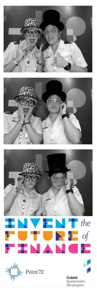 branded tradeshow photobooth black and white example