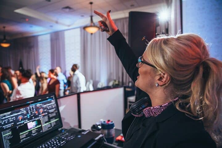 Kristin at the DJ booth
