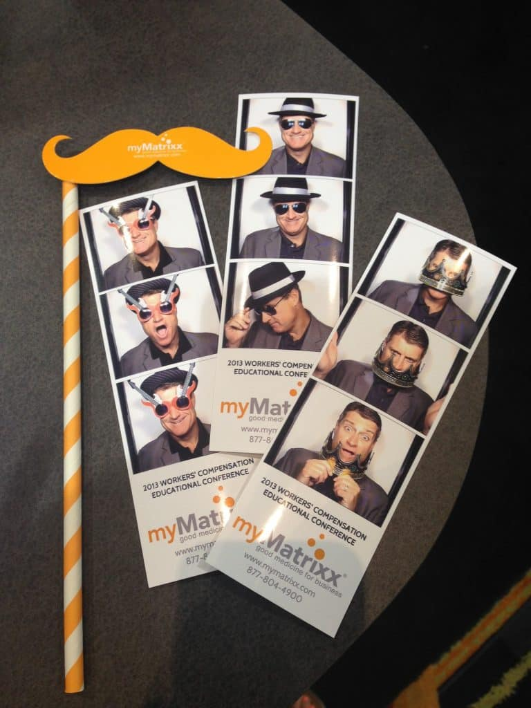 mustache prop with branded photo strip