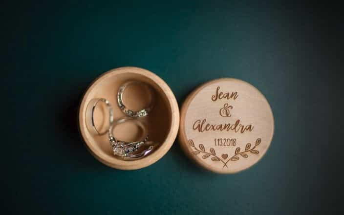 wedding rings in personalized wooden box