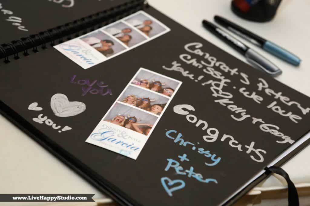 photo booth pictures in signed scrapbook