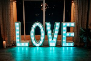 """Love"" marquis-style sign"