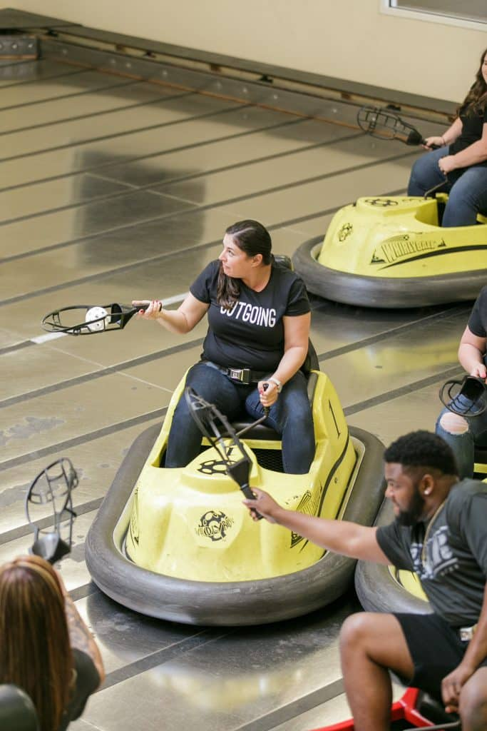 Pamela getting serious in a game of whirlyball
