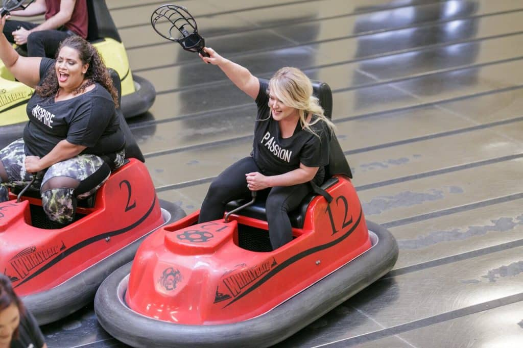 Kristin playing Whirlyball at the 2018 Team Retreat