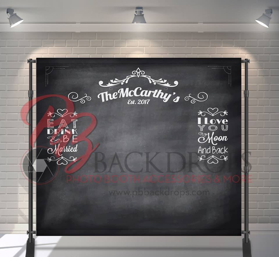custom chalkboard themed photo booth backdrop