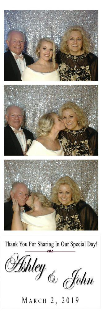 bride kissing parents' cheeks photo strip