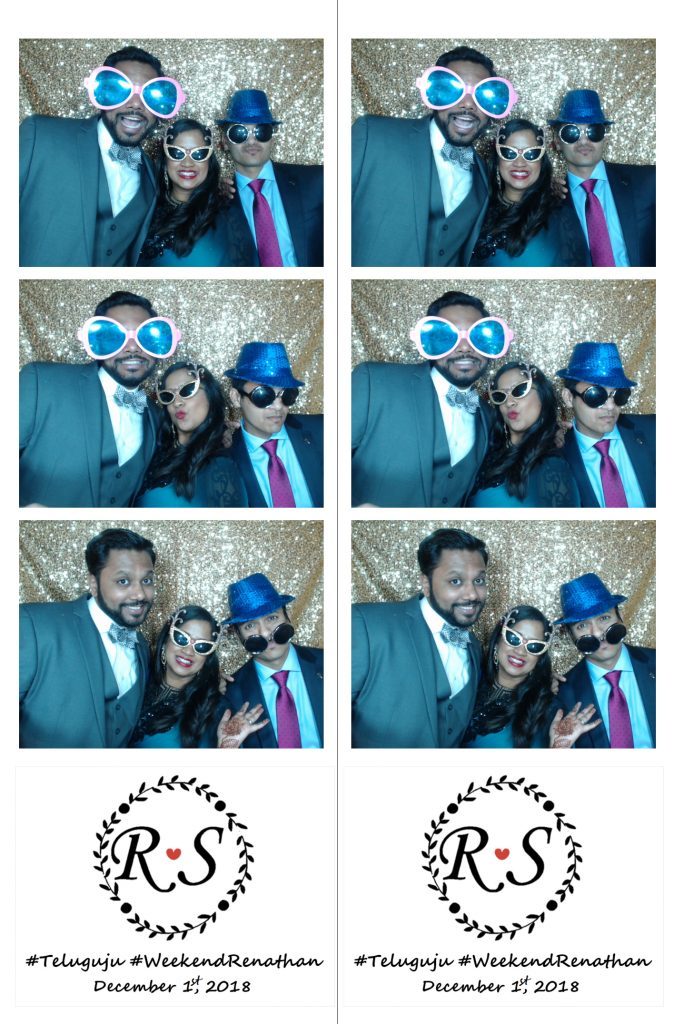 wedding guests in photo booth strip