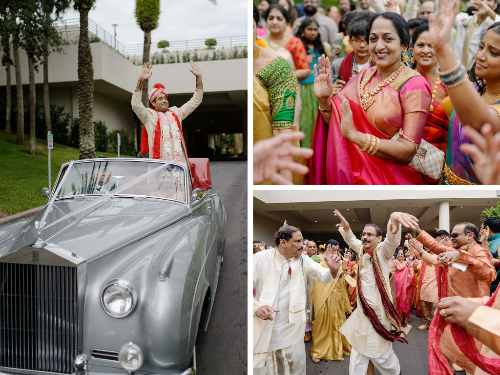 Indian groom Shanthan arriving in classic car