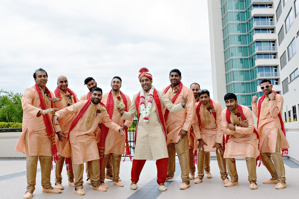 Indian groom Shanthan and his entourage